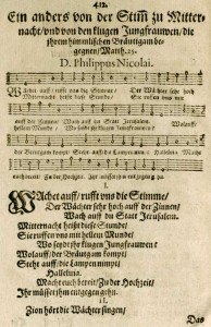 """Wachet auf"" as it first appeared in Philipp Nicolai's devotional book, Frewdenspiegel deß ewigen Lebens"