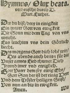 """""""Der du bist drei in Einigkeit"""" as it appeared in a 1545 printing of Klug's hymnal."""