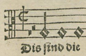 """The opening of """"Dies sind die heilgen zehn Gebot."""" The hymn is in cut time. The two rests, semibreve and minim in value, when added to the minim pickup note, come to one breve, which I identify with one measure. The rests are not necessary for performance. I therefore take them as giving the singer a sense of where the pickup note falls in the metrical structure."""